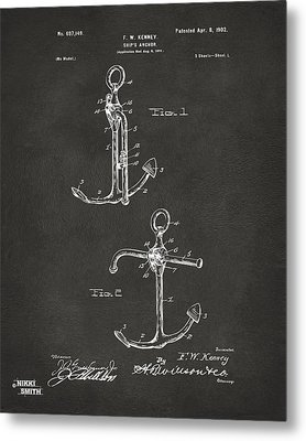 1902 Ships Anchor Patent Artwork - Gray Metal Print by Nikki Marie Smith