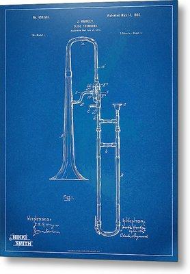 1902 Slide Trombone Patent Blueprint Metal Print by Nikki Marie Smith