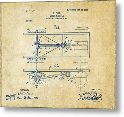 1903 Henry Ford Model T Patent Vintage Metal Print by Nikki Marie Smith