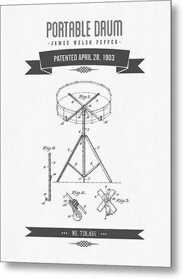 1903 Portable Drum Patent Drawing Metal Print