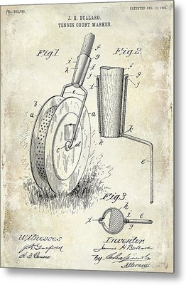 1903 Tennis Court Marker Patent Drawing Metal Print by Jon Neidert