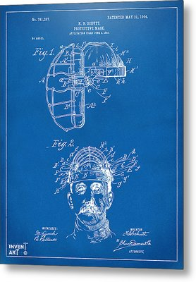 1904 Baseball Catchers Mask Patent Artwork - Blueprint Metal Print