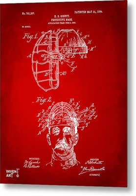 1904 Baseball Catchers Mask Patent Artwork - Red Metal Print