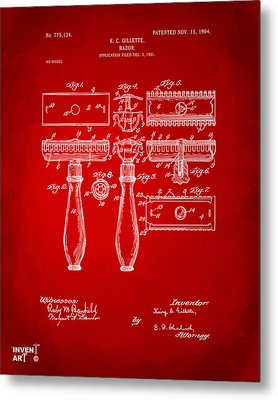 1904 Gillette Razor Patent Artwork Red Metal Print by Nikki Marie Smith