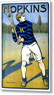 1905 - Johns Hopkins University Lacrosse Poster - Color Metal Print