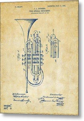 1906 Brass Wind Instrument Patent Artwork Vintage Metal Print by Nikki Marie Smith