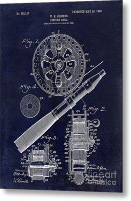 1906 Fishing Reel Patent Drawing Blue Metal Print by Jon Neidert