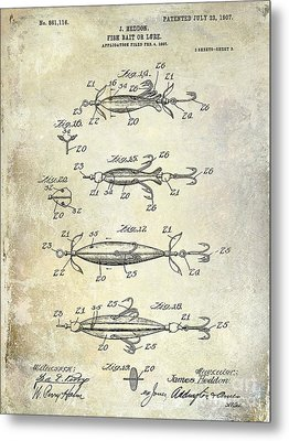 1907 Fishing Lure Patent Metal Print by Jon Neidert