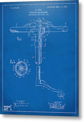 1907 Henry Ford Steering Wheel Patent Blueprint Metal Print by Nikki Marie Smith