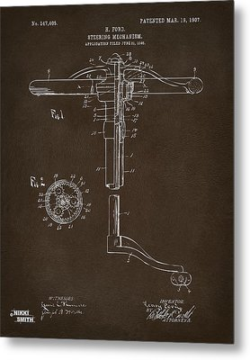 1907 Henry Ford Steering Wheel Patent Espresso Metal Print by Nikki Marie Smith