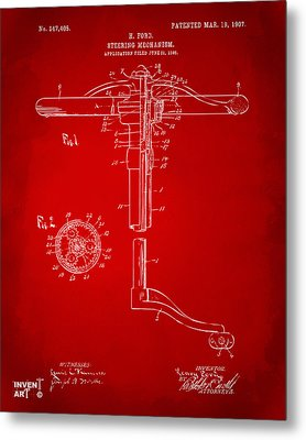 1907 Henry Ford Steering Wheel Patent Red Metal Print by Nikki Marie Smith