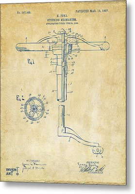 1907 Henry Ford Steering Wheel Patent Vintage Metal Print by Nikki Marie Smith