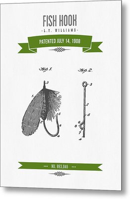 1908 Fish Hook Patent Drawing - Retro Geen Metal Print by Aged Pixel