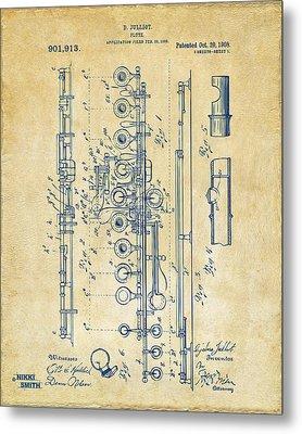 1908 Flute Patent - Vintage Metal Print