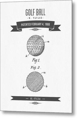 1908 Taylor Golf Ball Patent Drawing - Retro Gray Metal Print by Aged Pixel
