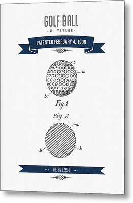 1908 Taylor Golf Ball Patent Drawing - Retro Navy Blue Metal Print by Aged Pixel