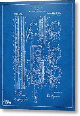 1909 Flute Patent - Blueprint Metal Print by Nikki Marie Smith