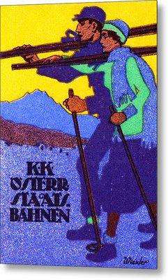 1910 Austrian Ski Poster Metal Print by Historic Image