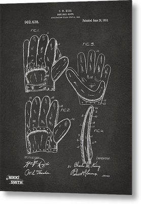 1910 Baseball Glove Patent Artwork - Gray Metal Print