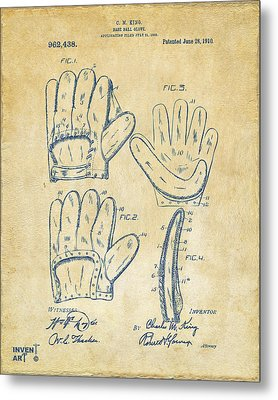 1910 Baseball Glove Patent Artwork Vintage Metal Print by Nikki Marie Smith