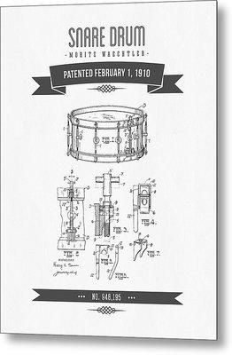 1910 Snare Drum Patent Drawing Metal Print