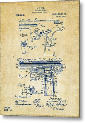 1911 Automatic Firearm Patent Artwork - Vintage Metal Print by Nikki Marie Smith
