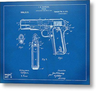 1911 Colt 45 Browning Firearm Patent Artwork Blueprint Metal Print by Nikki Marie Smith
