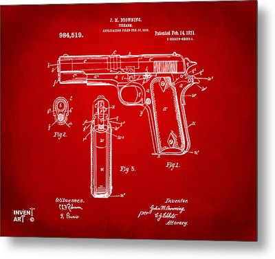 1911 Colt 45 Browning Firearm Patent Artwork Red Metal Print by Nikki Marie Smith