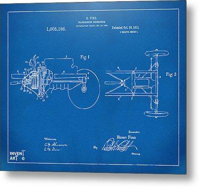 1911 Henry Ford Transmission Patent Blueprint Metal Print