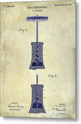 1913 Cork Extractor Patent Drawing 2 Tone Metal Print