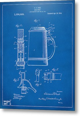 1914 Beer Stein Patent Artwork - Blueprint Metal Print by Nikki Marie Smith