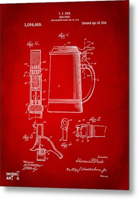 1914 Beer Stein Patent Artwork - Red Metal Print