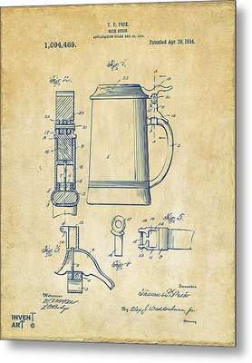 1914 Beer Stein Patent Artwork - Vintage Metal Print by Nikki Marie Smith