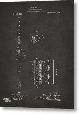 1914 Flute Patent - Gray Metal Print by Nikki Marie Smith