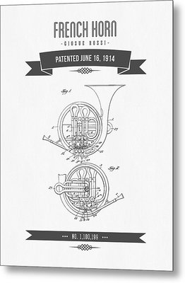 1914 French Horn Patent Drawing Metal Print by Aged Pixel