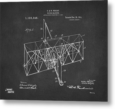 Metal Print featuring the drawing 1914 Wright Brothers Flying Machine Patent Gray by Nikki Marie Smith