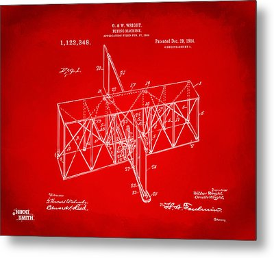 Metal Print featuring the drawing 1914 Wright Brothers Flying Machine Patent Red by Nikki Marie Smith