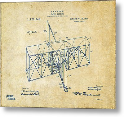 Metal Print featuring the drawing 1914 Wright Brothers Flying Machine Patent Vintage by Nikki Marie Smith