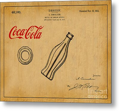 1915 Coca Cola Bottle Design Patent Art 1 Metal Print by Nishanth Gopinathan