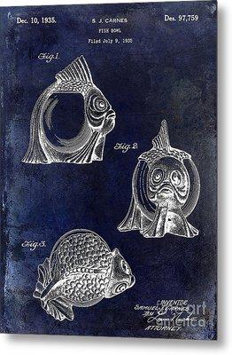 1915 Fish Bowl Patent Drawing Blue Metal Print