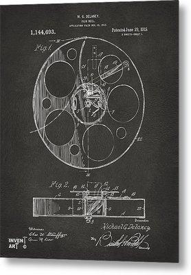 1915 Movie Film Reel Patent Gray Metal Print by Nikki Marie Smith