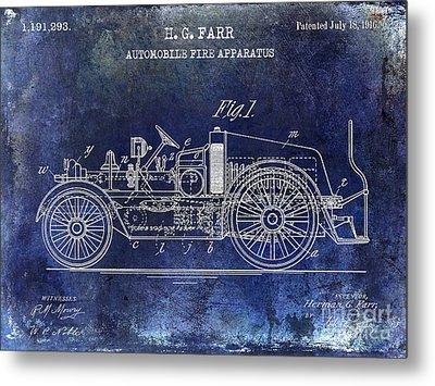 1916 Automobile Fire Apparatus Patent Drawing Blue Metal Print by Jon Neidert
