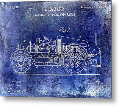 1916 Automobile Fire Apparatus Patent Drawing Lt Blue Metal Print by Jon Neidert