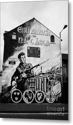 1916 Dublin Easter Rising Commemoration Republican Wall Mural Beechmount Rpg Belfast Metal Print by Joe Fox