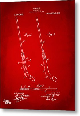1916 Hockey Goalie Stick Patent Artwork - Red Metal Print by Nikki Marie Smith