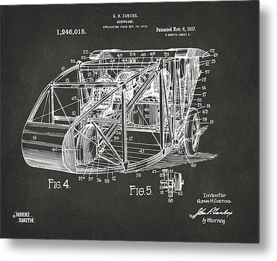 1917 Glenn Curtiss Aeroplane Patent Artwork 3 - Gray Metal Print by Nikki Marie Smith