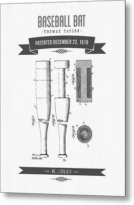 1919 Baseball Bat Patent Drawing Metal Print by Aged Pixel