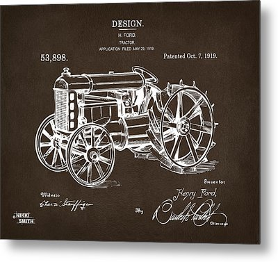 Metal Print featuring the drawing 1919 Henry Ford Tractor Patent Espresso by Nikki Marie Smith