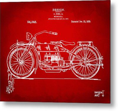 1919 Motorcycle Patent Red Metal Print