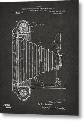 1920 Hess Camera Patent Artwork - Gray Metal Print